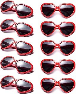 10 Packs Neon Colors Wholesale Heart Sunglasses