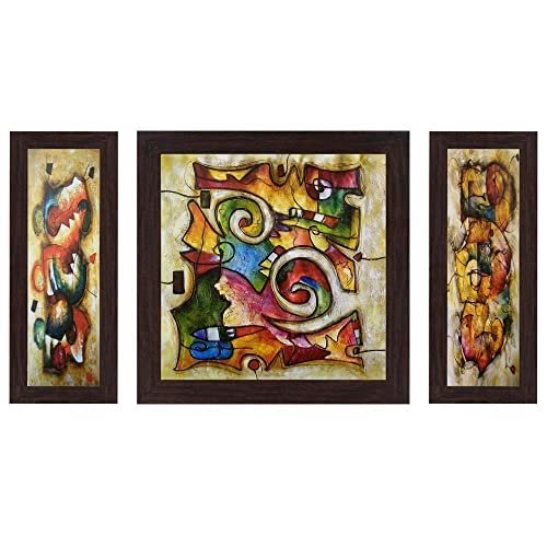 Wens Abstract Exclusive MDF Wall Painting (30 cm x 34 cm x 1.5 cm, Set of 3, WSP-4116)