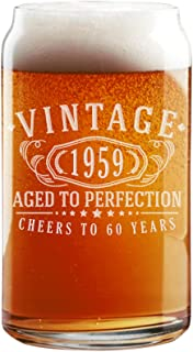 Vintage 1959 Etched 16oz Beer Can Glass - 60th Birthday Aged to Perfection - 60 years old gifts