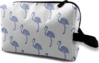 American Flamingo (blue) Travel Makeup Cute Cosmetic Case Organizer Portable Storage Bag for Women