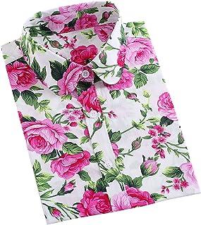 XI PENG Women's Fashion Feminine Tops Blouse Work Button Down Long Sleeve Floral Dress Shirts