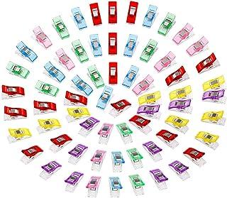 Anpro 100PCS Clips Pinces DIY Pince 2.7 * 1.0 * 1.5cm en ABS Reliure Couture Artisanat 6 Couleurs Rose,Rouge,Bleu,Jaune,Vi...