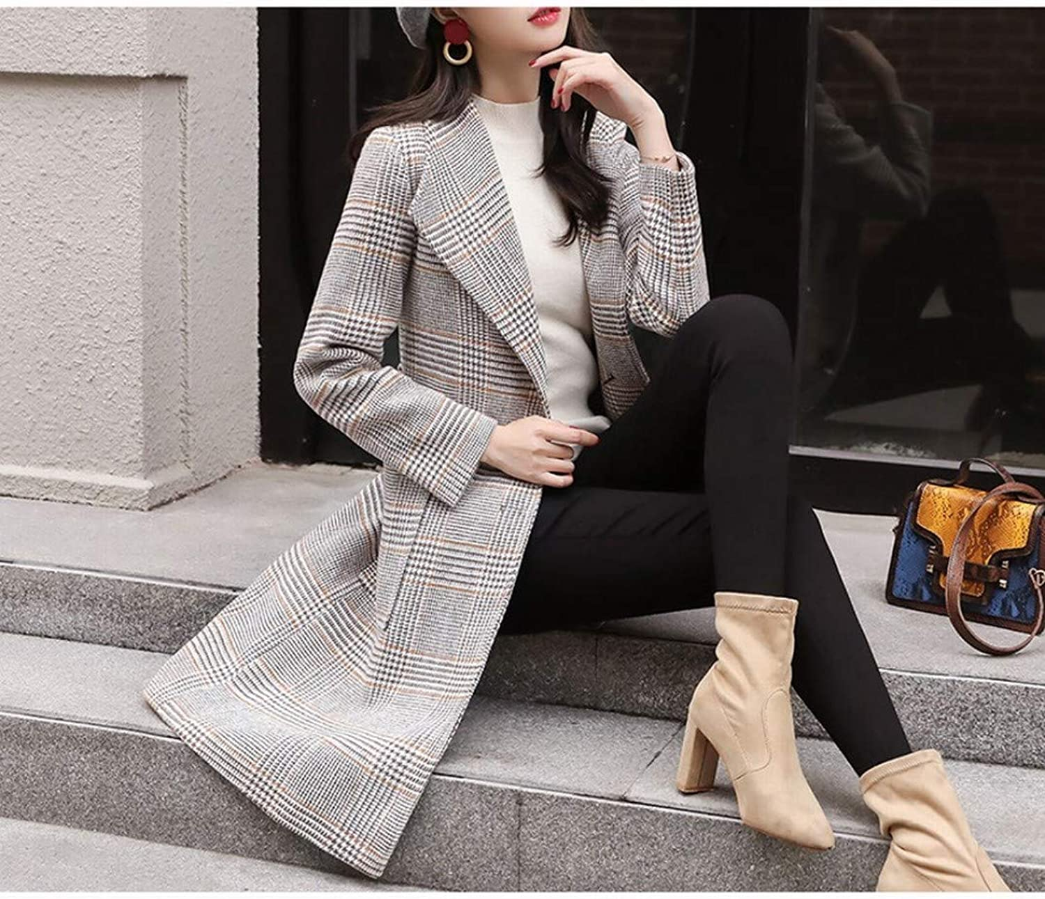 Woolen Coat, Female Winter Long Coat, Waist Slimming Plus Cotton Woolen Coat, Thick Tartan Woolen Coat PLLP