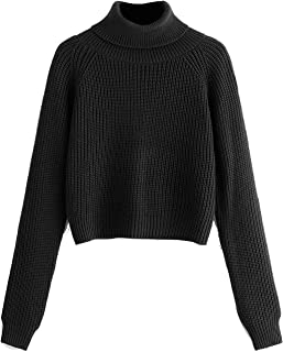 Women Crop Turtleneck Sweaters Basic Fall Winter Solid Pullover Long Sleeves