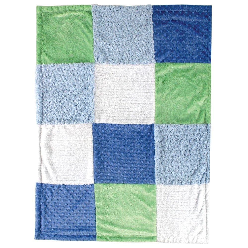 One Size Hudson Baby Unisex Baby Multi-Fabric Panel Plush Blanket Blue