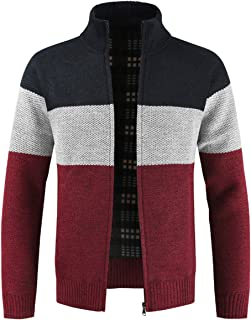 Mens Knitted Cardigan Sweater Multicolor Chunky Knit Jacket Full Zip Knitwear Jumper