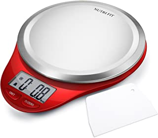 Digital Kitchen Scale with Dough Scraper, NUTRI FIT High Accuracy Multifunction Food Scale with LCD Display for Baking Kitchen Cooking,Tare & Auto Off Function (Red)