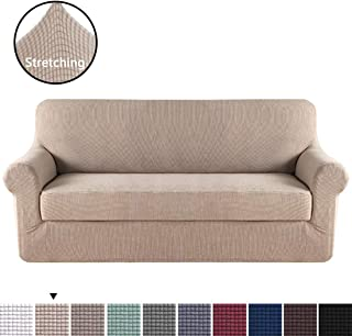 H.VERSAILTEX 2 Piece Sofa Cover, Chair Covers, Sofa Slipcover, Couch Cover, Slip Covers for Furniture Sofa, Couch Covers for 3 Cushion Couch, Chair Covers for Living Room(Sofa, Sand)