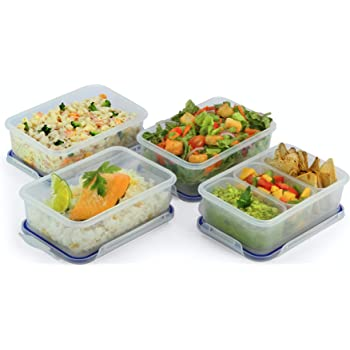 Popit! Rectangular Food Container Meal Prep Set 4 x 4.6 Cup Containers + 3 divisions included, BPA Free, 100% Leak Proof, Microwave, Freezer, Dishwasher Safe, by Popit!