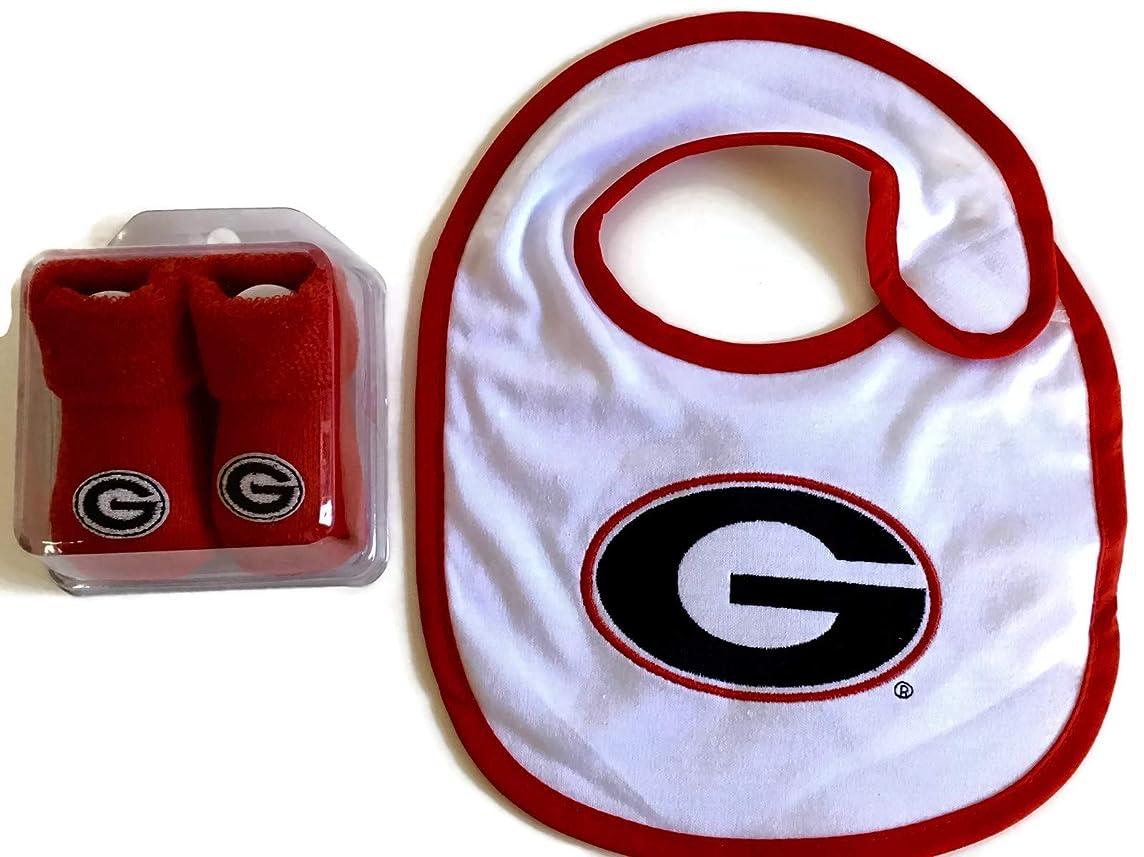 Georgia Bulldogs Baby Gift Set Red UGA Booties - UGA Bib Licensed NCAA Infant Socks Bulldawgs