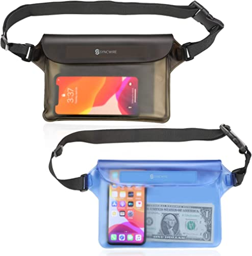 Syncwire Waterproof Pouch Bag with Adjustable Waist Strap (2 Pack) - IP68 Waterproof Waist Bag Screen Touchable Dry B...