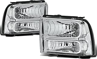 For Ford Super Duty 1st Gen F250-550 Pair Chrome Housing OE Style Headlight Lamp