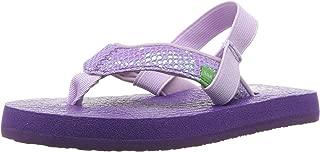 Girls' Yoga Glitter Flip-Flop, Purple-with Strap, 11/12 M US Little kid