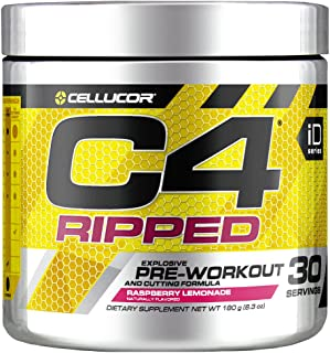 C4 Ripped Pre Workout Powder Raspberry Lemonade | Creatine Free + Sugar Free Preworkout Energy Supplement for Men & Women ...