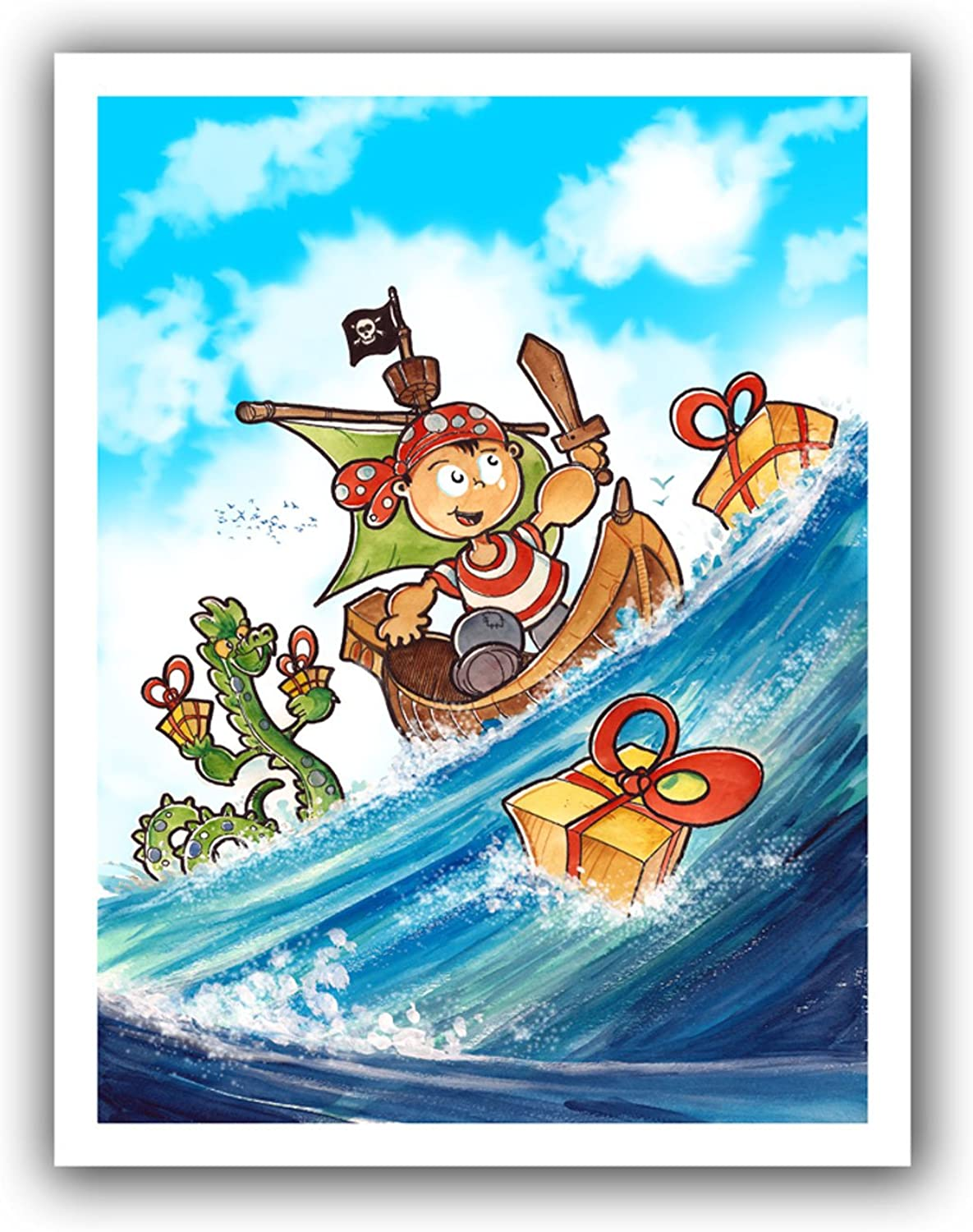 ArtWall Luis Peres Kid Pirate Unwrapped Canvas, 22 by 28Inch, Holds 18 by 24Inch Image