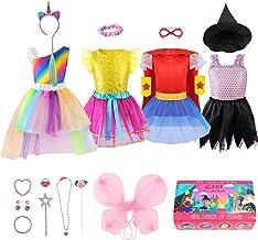 Girls Dress up Trunk Princess Set, Jeowoqao 24 PCS Pretend Play Costume Set, Fairytale, Supergirl, Princess, Rainbow Unico...