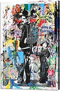Yatsen Bridge Charlie Chaplin The Kid Poster Banksy Graffiti Wall Art Prints Pop Canvas Art Paintings Colorful Pictures Stretched and Framed for Living Room Home Decor Ready to Hang(24''W x 36''H)