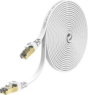 lovicool LANケーブル イーサネットケーブル CAT7準拠 ウルトラフラットケーブル RJ45コネクタ ギガビット 10Gbps/600MHz 金メッキコネクタ 爪折れ防止 やわらか 50フット 15m ホワイト (50ft 15m)