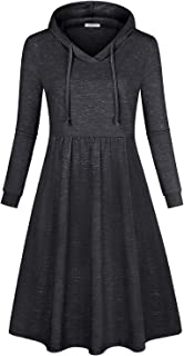 SeSe Code Women's Long Sleeve Pleated Swing Midi Casual Dress with Hooded