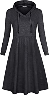 Women's Long Sleeve Pleated Swing Midi Casual Dress with Hooded
