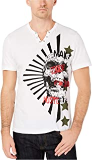 INC International Concepts Men's Skull Graphic Split-Neck T-Shirt