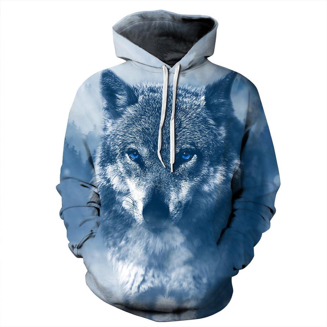 Comeon Wolf Hoodie,Couple 3D Cool Oversized Lightweight Pullover Hoodie Hooded Sweatshirt for Men Women