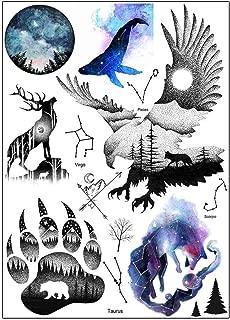 BESTPICKS Large Waterproof Fashion Temporary Tattoo Sticker - WOLF, CLAW, SUN SIGNS, EAGLE, ARROW - 14.5 X 21 cm Sheet