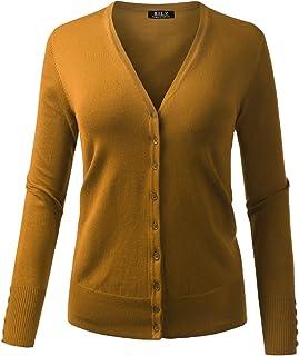BILY 女式 V 领系扣长袖柔软经典针织开衫