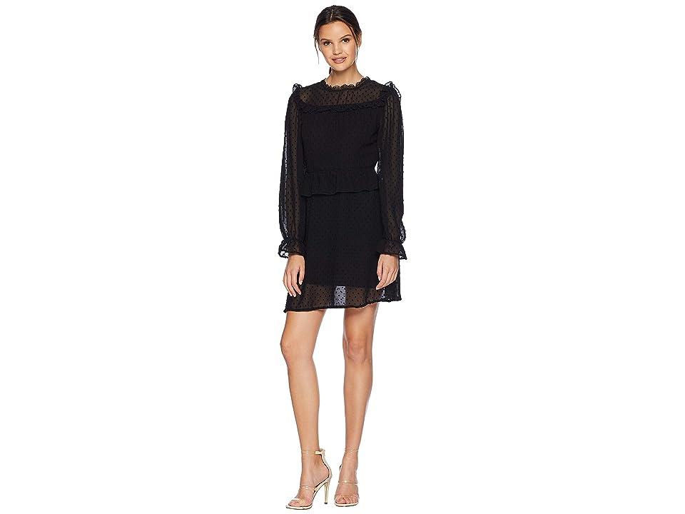 ROMEO & JULIET COUTURE Swiss Dot Woven Dress (Black) Women