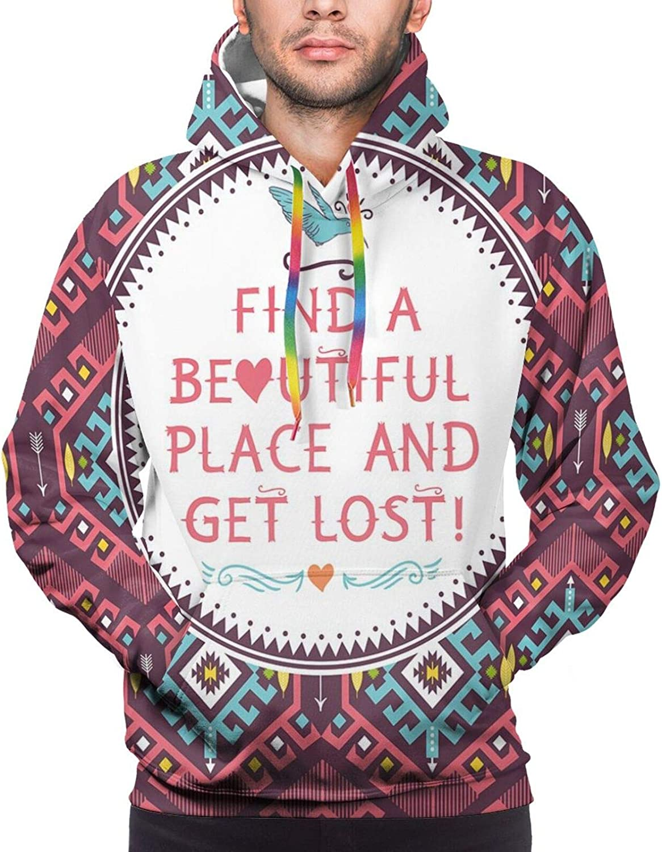 Men's Hoodies Sweatshirts,Hipster Tribal Pattern Geometric Elements Typographic Text