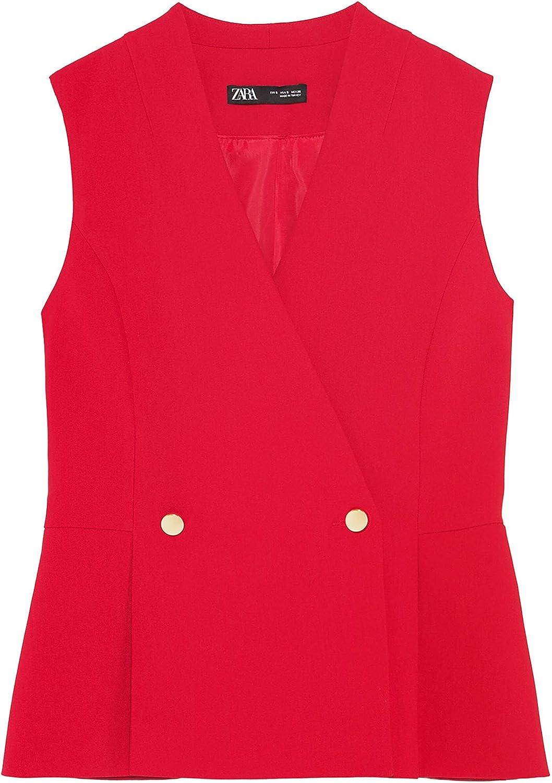 Zara 1478/350 - Chaleco de doble pecho para mujer - Naranja ...