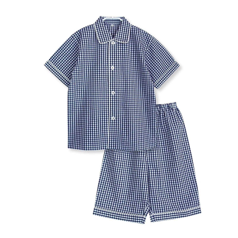 【ノーブランド品】綿100% 半袖 ボーイズ パジャマ 夏 さらっと薄手の キッズ パジャマ ギンガムチェック
