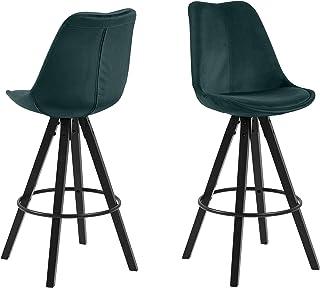 Amazon Brand - Movian Arendsee - Juego de 2 taburetes de bar, 55 x 48,5 x 111,5 cm, verde