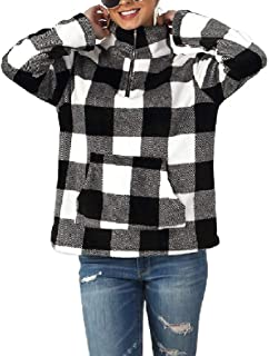 Howely Women's Casual Pockets Fall Winter High Neck Plaid Sweatshirt Blouse