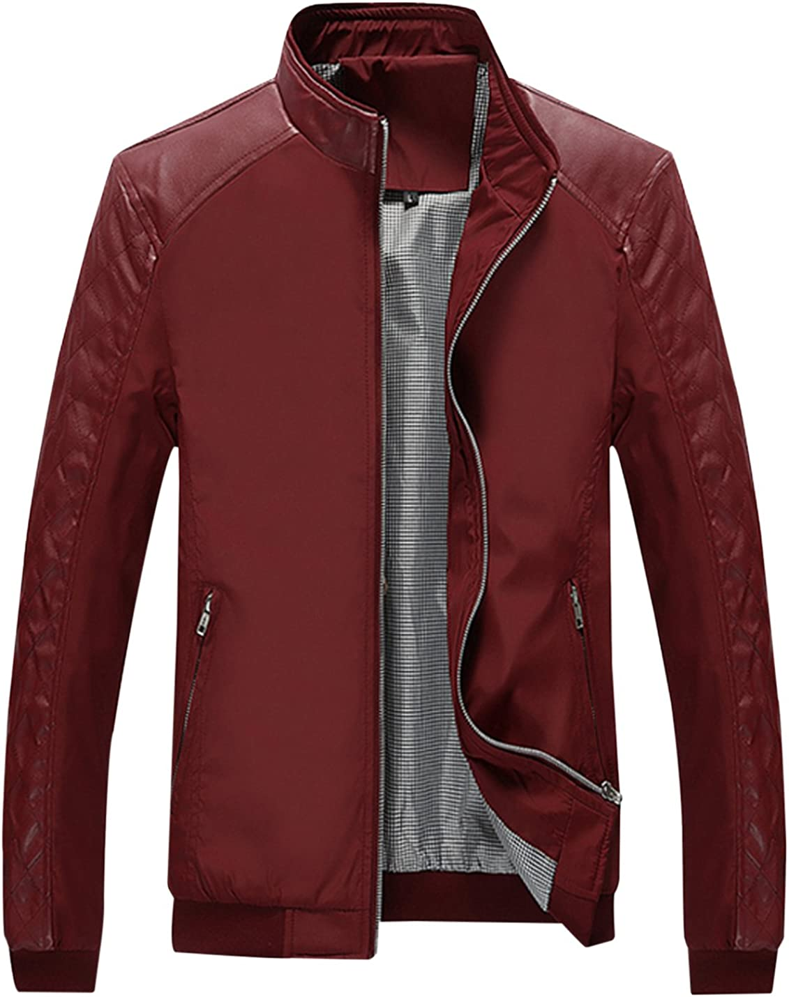 Springrain Men's Outlet ☆ Free Shipping Casual Stand Collar Softshell Slim Selling and selling B PU Leather