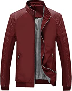 Springrain Men's Casual Stand Collar Slim PU Leather Softshell Bomber Jacket