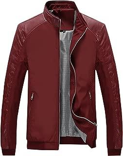 Springrain Men's Casual Stand Collar Slim PU Leather Sleeve Bomber Jacket