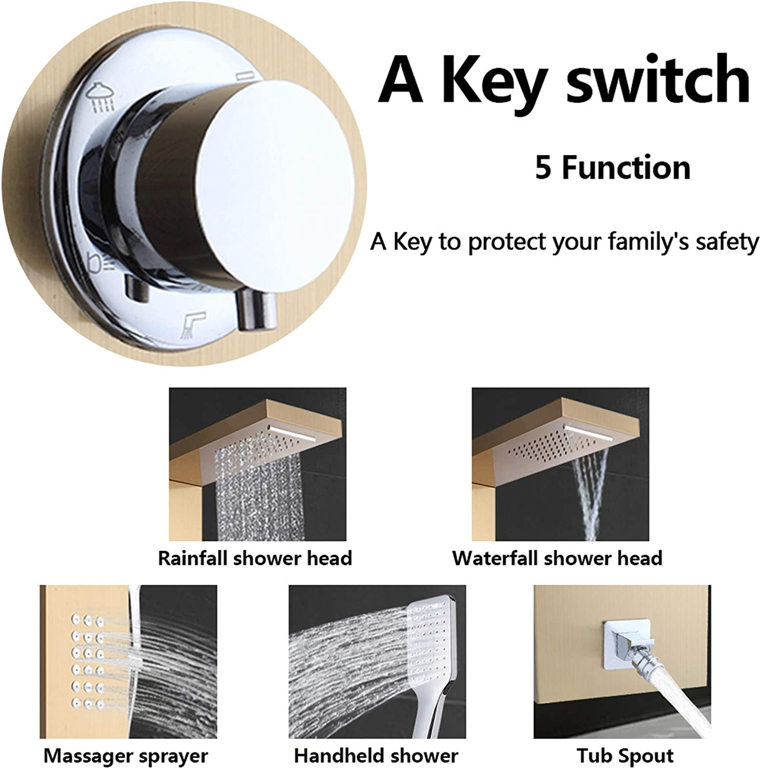 Shower Panel Tower System; 5-in-1 Multi-Function Stainless Steel ...