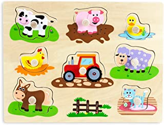 Imagination Generation Professor Poplar's Wooden Barnyard Peg Puzzle (8pcs)