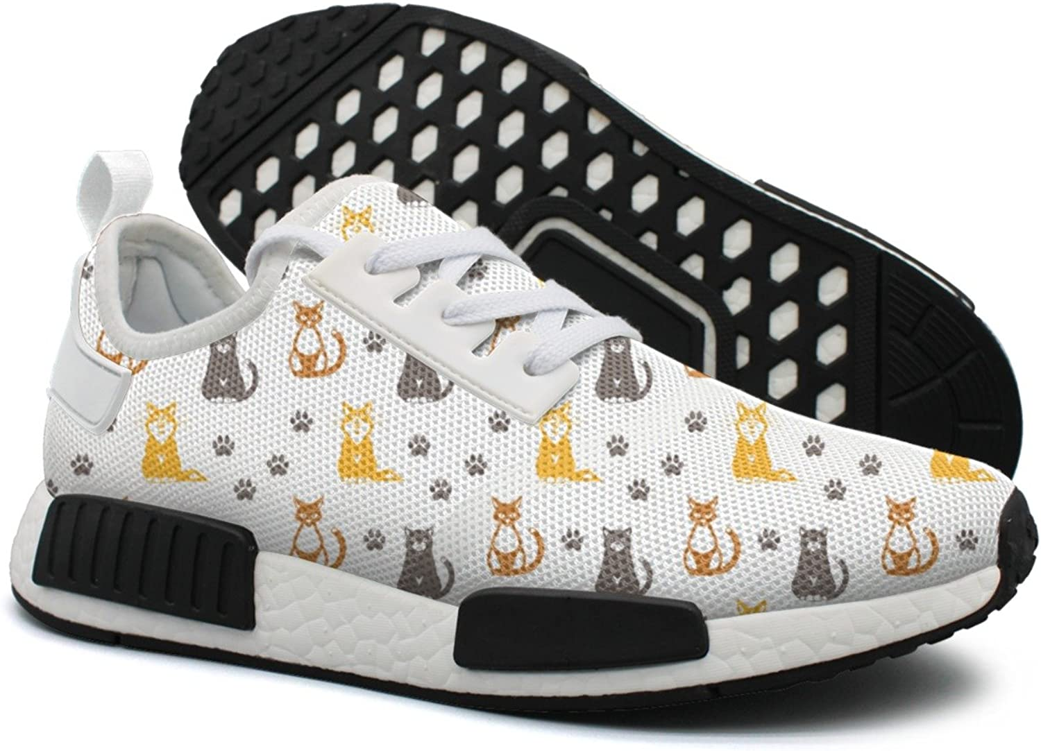 Cute Black Cats Footprint White Background Women's Exclusive Lightweight Sneakers shoes Gym Outdoor Running shoes