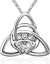 BLOVIN 925 Sterling Silver Engraved Love Heart Pendant Necklace Jewelry Gifts for Women Mom Girlfriend Wife
