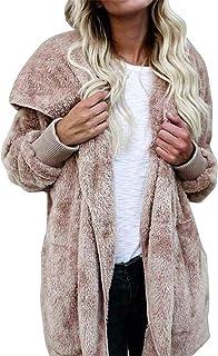 XioNiu Women Fashion Casual Solid Plush Open Front Hooded Cardigan Coat Fashion Hoodies