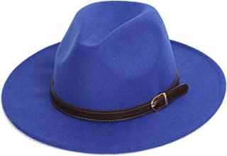 Fedora Hats Men's Fashion Shallow Fedora Hats Classic Unisex Solid Color Belt Gold Buckle Large Size caps