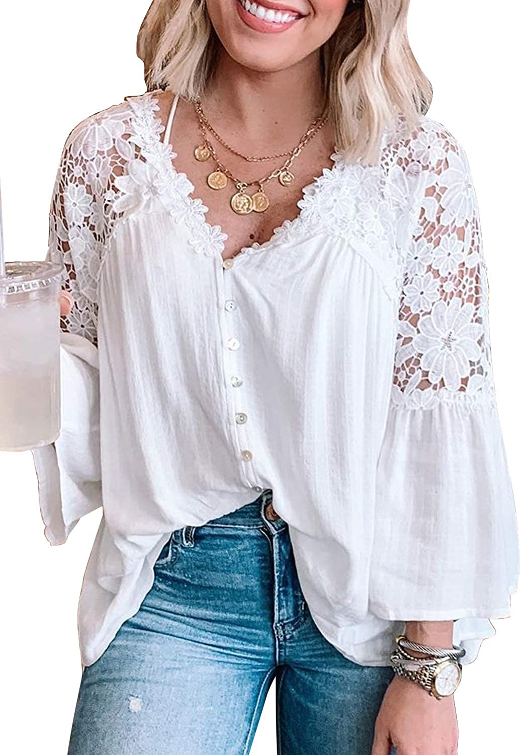 Asvivid V Neck Crochet Lace Tops for Women Casual Loose Puff Sleeve Fall Shirts Flowy Chiffon Blouses