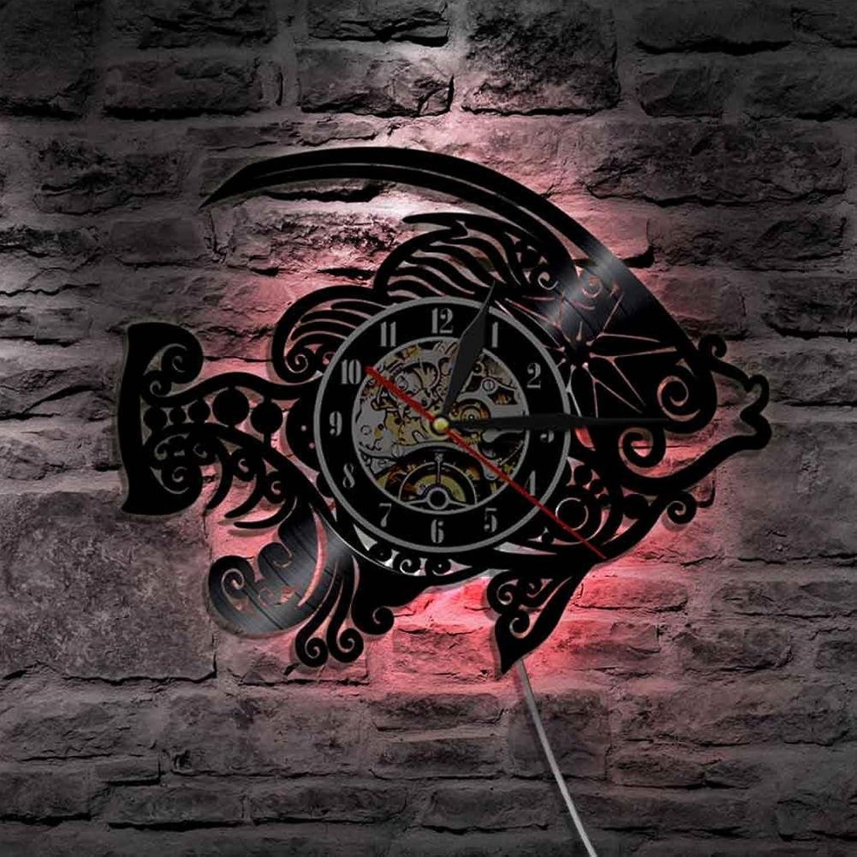 Unbekannt Lyq 12  Gold Fisch Dekorativ Mauer Licht Mit Farbe ndern Schwarz Licht Handarbeit Mauer Uhr Einzigartig Geschenk Idee Zum Beste Freunde