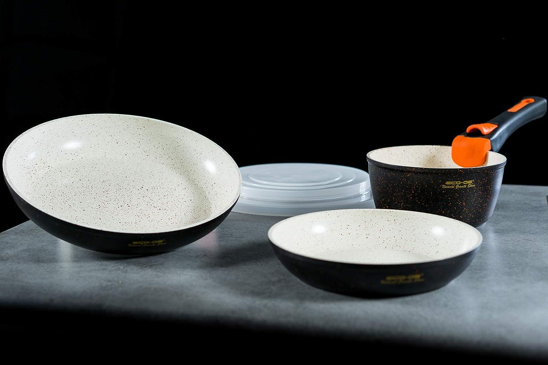 ECODE Set de 3 Piezas de sartenes con revestimineto cerámico y Granito con Mango Extraible Granite Stone (2 sartenes, 1 cazo y 2 Tapas) Apto para inducción y vitro