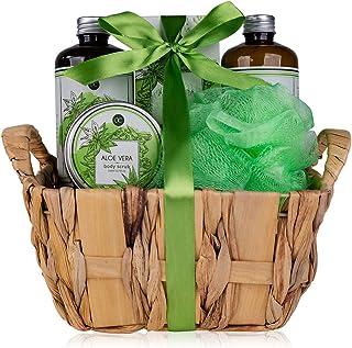 Accentra Badset met aloë vera, prachtige 6-delige verzorgingsset, cadeauset, spa-set voor elke gelegenheid, groen