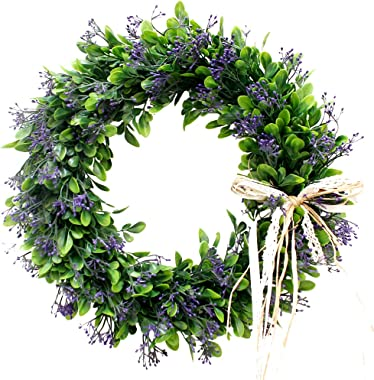 Palmhill 16 inch Wreath Front Door, Artificial Plastic Green Leaf Eucalyptus Wreath with Bow Spring Farmhouse Hoop Wreath Gre