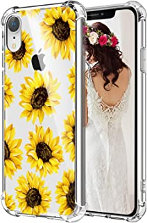 Hepix Sunflowers iPhone XR Case Floral Xr Phone Cases, Clear Flexible Soft TPU Protective Xr Phone Cover Cases with 4 Reinforced Bumpers for Women