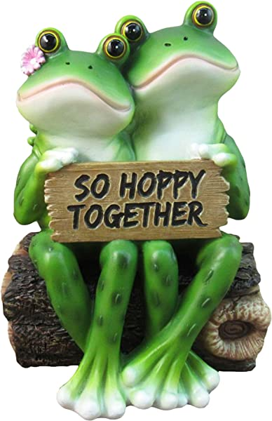 DWK 6 5 So Hoppy Frogs Happy Frog Couple So Hoppy Together Fun Decor Figurine Valentine Romantic Statue For Home And Office